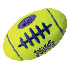 Our durable, high-quality AirDog Football will not wear down a dog's teeth. It's made with a special non-abrasive felt, compared to the abrasive material on normal tennis balls.