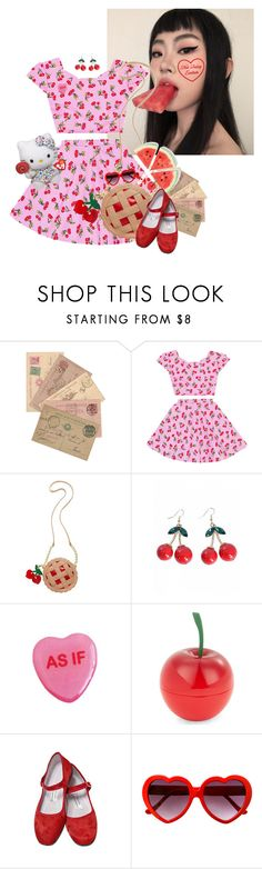 """Cherry pie"" by bandaidkid ❤ liked on Polyvore featuring Betsey Johnson, Tony Moly and Hello Kitty"