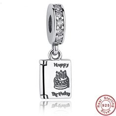 Authentic 925 Sterling Silver Happy Birthday Cake Wishes Dangle Clear CZ Charm Fit PANDORA Bracelet