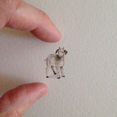An artist created itty-bitty paintings every day for a year. Here are 15 of them.  A pocket-sized goat.