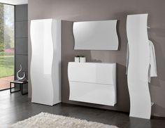 Onda, modern entrance hall wardrobe, shoe cabinet, panel hanger and mirror in white gloss finish