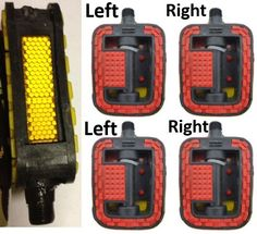 """4-pack of 9/16"""" Bike Bicycle Pedal Reflective, Left and Right, Premium"""