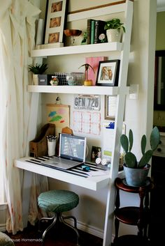 wall ladders ladder desk leaning desk room setup ana white home projects do it yourself small space diy furniture