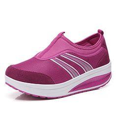 scarpe da ginnastica - Scarpe da donna - Zeppa - Zeppa DI Nylon - Grigio/Viola/Rosso – EUR € 18.99