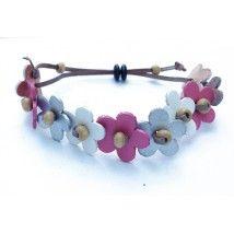 bracelet en cuir avec fleurs argent, rose et blanc
