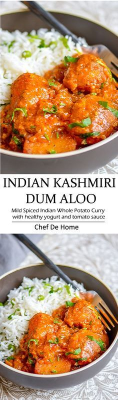 Delicious Indian dinner with easy potato curry called Kashmiri Dum Aloo - a yogurt base and lite spices make scrumptious base and served with lite rice and green peas pilaf   chefdehome.com