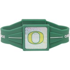 """NCAA Oregon Ducks Green Power Force Silicone Wristband by Football Fanatics. $7.99. Oregon Ducks Green Power Force Silicone WristbandOfficially licensed collegiate productSilicone bandHolographic accentsTeam logo and colorsMeasures approximately 7.5"""" aroundImportedSilicone bandMeasures approximately 7.5"""" aroundTeam logo and colorsHolographic accentsImportedOfficially licensed collegiate product. Save 72% Off!"""
