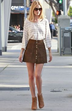 rosie huntington whiteley look saia suede street style
