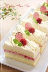 This sweet and sour raspberry cream short cake is topped with a rich and thick cheese cream in a Mont Blanc style.