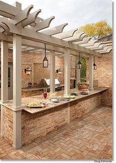 Outdoor Kitchen - with plenty of space for serving dishes. #PinMyDreamBackyard