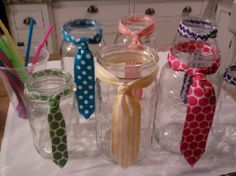 Tutu and tie birthday party.  Make ties out of ribbon on mason jars for the party!