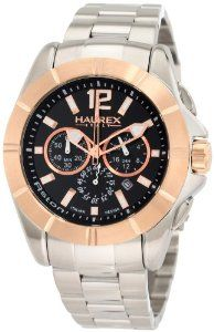 Haurex Italy Men's 0D366UNH Aston Chronograph Rose Gold-Tone Bezel Stainless Steel Watch Haurex. $218.76. Date window. Chronograph function. 24 hour time display. Rose-gold PVD indices, second hand; Luminous. Water-resistant to 330 feet (100 M). Save 75%!
