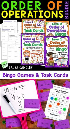 Teaching order of operations is fun and effective when you use the mini-lessons, bingo games, task cards, and tests in this bundle! Perfect for grade and grade order of operations lessons! Teaching Math, Teaching Resources, Elementary Teaching, Upper Elementary, Bingo Games, Math Games, Guided Math Groups, Operation Game, Jobs For Teachers