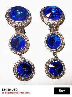 "Blue Rivoli Dangle Earrings High Fashion Hollywood Glamour Clip Ons 2.5"" Vintage"