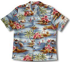 5fb6d048 Flamingo Paradise Men's Hawaiian RJC Shirt is Available in Navy Blue and  Light Blue Flamingo Print