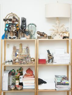 aimee song's closet (via the coveteur) Jewellery Storage, Jewelry Organization, Jewellery Display, Closet Organization, Gold Shelves, The Coveteur, Aimee Song, Song Of Style, Wine Cork Crafts