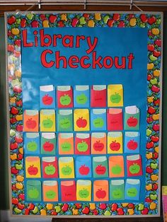 I would love this classroom Library Checkout Bulletin board but can't imagine putting it all together with the books.
