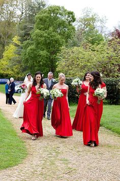 Red bridesmaids casual entrance #wedding ceremony... Wedding ideas for brides, grooms, parents & planners ... https://itunes.apple.com/us/app/the-gold-wedding-planner/id498112599?ls=1=8 … plus how to organise an entire wedding, without overspending ♥ The Gold Wedding Planner iPhone App ♥