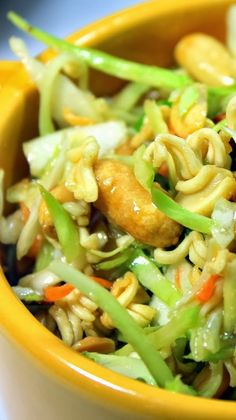 Ramon Noodle Asian Salad It is FAST to put together. Total kitchen hands on time, about 15 minutes. It is EASY to put together. This is a matter of opening a few bags. It TRAVELS WELL and actually TASTE BEST WHEN MADE IN ADVANCE. Which leads to ... Delicious! Hints of Asia, lots of greens (even well hidden Broccoli), Salty, Sweet from the sugar, A little crunchy for texture and ... Well... DELICIOUS!