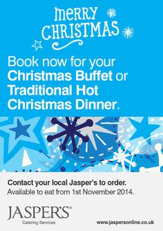 Christmas is coming, so don't delay get your office Christmas lunch ordered through jasper's.. We have three great new menu's this year along with some festive food treats to add as extra's.. HO HO HO  http://www.jaspersonline.co.uk/christmas