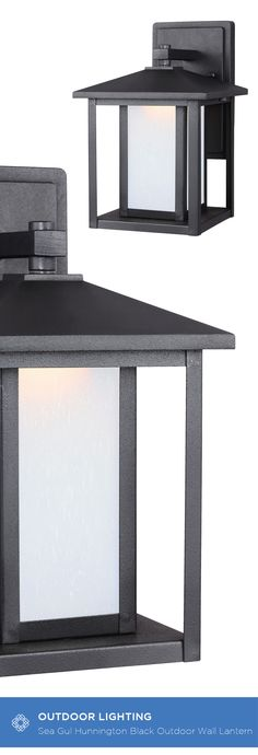 The Sea Gull Lighting Hunnington one light outdoor wall fixture in black creates a warm and inviting welcome presentation for your home's exterior. A bit of Shaker minimalism mixed with Arts and Crafts styling defines the transitional Hunnington Outdoor Collection. Equally at home in the city or the country, this timeless style will enhance the appearance of a home's entrance and illuminate outdoor spaces nicely. The sleek profile and muted finish options complement a wide range of…