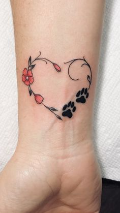 Heart with flowers and dog paw prints tattoo done by ink house 203 - ta . - Heart with flowers and dog paw prints tattoo done by ink house 203 – tattoo mama – - Dog Tattoos, Cute Tattoos, Flower Tattoos, Body Art Tattoos, Small Tattoos, Sleeve Tattoos, Zodiac Tattoos, Tatoos, Heart Wrist Tattoos