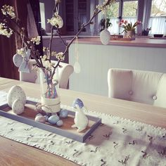 ... a little in love with our new bunny table runner just in time for Easter  #happypost #love #sophieallport #myhomestyle #easterdecorations #gotalittlecarriedaway #weloveeaster by pinkmilkandpeonies