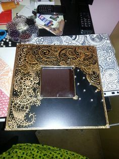 Mirror frame with henna designs as a gift