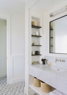 Master bathroom with marble vanity. Katie Martinez Design Master bathroom with marble vanity. Architecture Renovation, Home Renovation, Home Remodeling, Bathroom Renovations, Bathroom Makeovers, Bathroom Lighting Design, Thing 1, Bathroom Storage, Bathroom Shelves