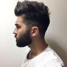 Short Sides with Medium-Length Brush Up Hair and Beard