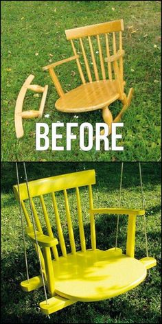 Wonderful ways to repurpose old chairs: make a swing from a broken rocking chair Don't throw away that broken chair! Turn an old chair into something new for your home with one of these great ideas for ways to repurpose old chairs. Furniture Projects, Furniture Makeover, Garden Furniture, Home Projects, Outdoor Furniture Sets, Wood Furniture, Bedroom Furniture, Furniture Stores, Street Furniture