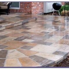 Concrete Patio, Tile Floor, Backyard, Outdoors, Flooring, Contemporary, Home Decor, Courtyard Landscaping, Patio