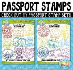 Printable passport stamps for around the world unit study for kids Passport Template, Booklet Template, Passport Stamps, Templates, Around The World Theme, Celebration Around The World, Holidays Around The World, Around The World Crafts For Kids, Camping Activities