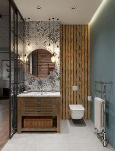 apartment for rent.Loft apartment for rent. Bathroom Tile Designs, Modern Bathroom Decor, Modern Bathroom Design, Bathroom Interior Design, Loft Design, House Design, Style Deco, Toilet Design, Contemporary Home Decor