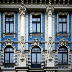 Riga, facade Art Nouveau building of the famous Latvian architect Mikhail Eisenstein located in Strelnieku iela Riga (Latvia). Architecture Art Nouveau, Classic Architecture, Historical Architecture, Beautiful Architecture, Beautiful Buildings, Architecture Details, Interior Architecture, Chinese Architecture, Futuristic Architecture
