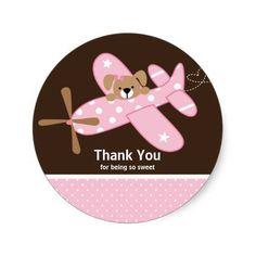 Pink Airplane Thank You Baby Shower Sticker