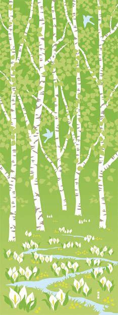 Japanese washcloth,(hand towel)TENUGUI【white birch grove】手ぬぐい 白樺林