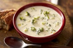 No fresh broccoli? No problem. This luscious soup made with cheddar and Neufchatel cheese is a quick fix with a 10 ounce package of frozen broccoli.  #recipe #winter #dinner