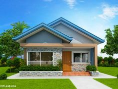 Another concept of three bedroom Bungalow House plan with total floor area of 82 square meters is conceptualized with blue color combinations. Roof is pale blue long span ribbed type pre-painted ga… Two Bedroom House Design, Three Bedroom House Plan, Bungalow Floor Plans, Modern Bungalow House, Bungalow Bedroom, Bungalow Exterior, Best Small House Designs, House Design Pictures, Beautiful Small Homes