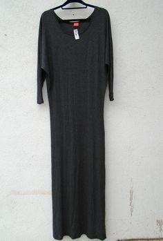 NEW $159 FEEL THE PIECE Gaga Long Gray Maxi Dress Dolman Sleeves One Size #FeelthePiece #Maxi #Casual