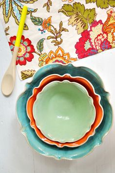 Nesting Bowl Set in Pastel Neon from Lee Wolfe Pottery