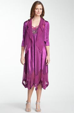 Komarov Beaded Pleated Charmeuse Dress & Jacket available at Nordstrom