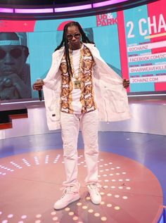 "True to his word and with his new album,�B.O.A.T.S. II: Me Time,�hitting shelves Sept. 10, 2 Chainz dresses ""fresh as hell"" during an appearance on BET's ""106 & Park"" on Sept. 9 in New York"