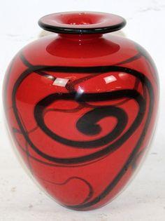 Ioan Nemtoi Romanian Artist Hand Blown Art Glass Vase in Red  http://www.bristolhallgallery.com/store/ioan-nemtoi-romanian-artist-hand-blown-art-glass-vase-in-red