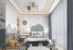 Modern Kids Bedroom, Kids Bedroom Designs, Kids Room Design, Home Room Design, Kids Bedroom Lights, Luxury Kids Bedroom, Kids Room Lighting, Cool Kids Rooms, Baby Room Decor