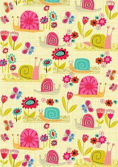 Snails Butterflies & Flowers Print by Dawn Bishop. Kids Patterns, Pretty Patterns, Paper Wallpaper, Iphone Wallpaper, Pattern Paper, Pattern Art, Stoff Design, Kids Prints, Pattern Illustration