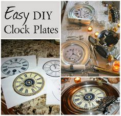 Silver chargers and glass plates have  clock faces nestled between them.: a new year's eve dinner