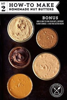How-to Make 5 different Homemade Nut Butters (Almond, Cashew, Spiced Maple Pecan, Nutella, Sunflower Seed)