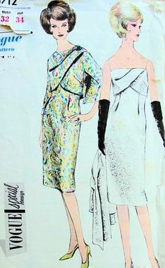 1960s STUNNING COCKTAIL EVENING DRESS, JACKET PATTERN DRAPED BODICE, JACKET HAS CROSSED OVER FRONT CLOSING VOGUE SPECIAL DESIGN 5712