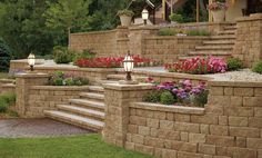 """Anchor™ Highland Stone® Retaining Wall 6″ Combo---The Anchor™ Highland Stone® Retaining Wall System has been designed with the texture and look of natural stone. This unique, 6"""" three-piece system offers a hand-hewn face that portrays a stone-like appearance. The patented rear lip facilitates setback and alignment resulting in faster, more reliable construction. Available in blended earth tone colors, the Anchor™ Highland Stone® Retaining Wall System"""